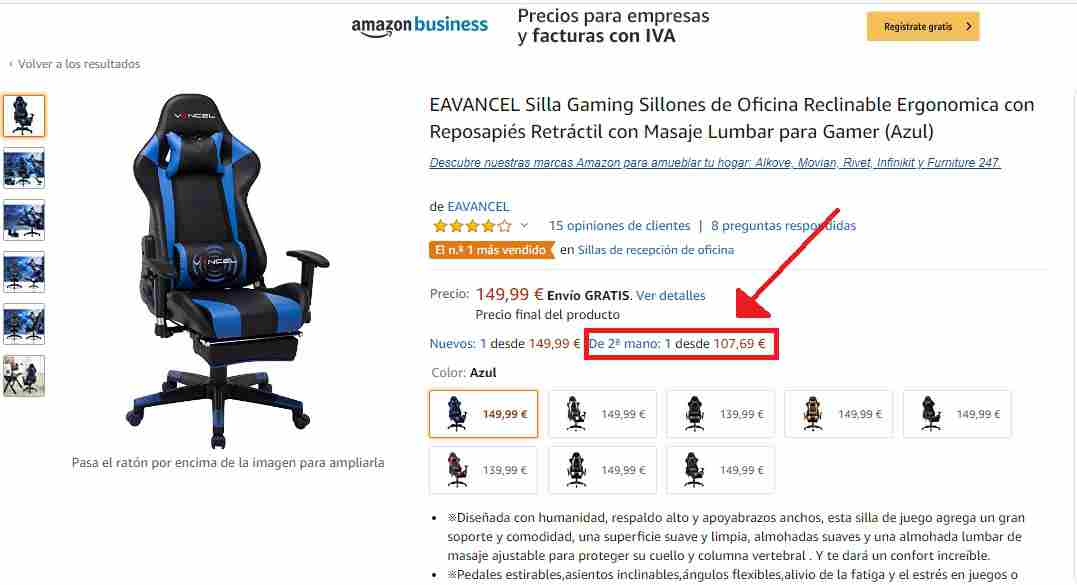 Silla Gamer EAVANCEL NB segunda mano